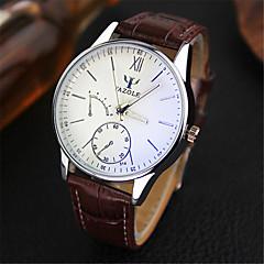 お買い得  大特価腕時計-YAZOLE 男性用 リストウォッチ クォーツ 30 m 耐水 クロノグラフ付き レザー バンド ハンズ チャーム ブラック / ブラウン - Brown ブラック / ホワイト ブラウン / ホワイト 1年間 電池寿命
