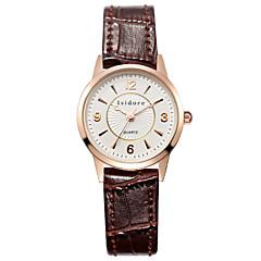 preiswerte Tolle Angebote auf Uhren-Damen Armbanduhr Quartz 30 m Wasserdicht Leder Band Analog Charme Freizeit Modisch Schwarz / Weiß / Rot - Rot Rosa Dunkelbraun