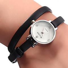 아가씨들 패션 시계 팔찌 시계 석영 가죽 밴드 블랙 화이트 브라운