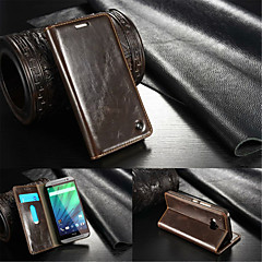 For HTC Case Wallet / Card Holder / with Stand / Flip Case Full Body Case Solid Color Hard Genuine Leather HTC