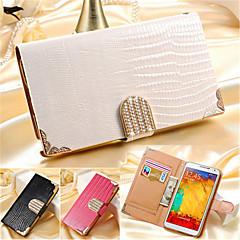 Недорогие Чехлы и кейсы для Galaxy Note 3-Кейс для Назначение SSamsung Galaxy Samsung Galaxy Note7 Бумажник для карт Кошелек Стразы со стендом Флип Чехол Сплошной цвет Кожа PU для