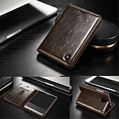 olcso Tokok-Mert BlackBerry tok Kártyatartó / Állvánnyal / Flip Case Teljes védelem Case Egyszínű Kemény Valódi bőr mert BlackBerry