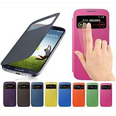 abordables Accesorios de Samsung-Funda Para Samsung Galaxy Funda Samsung Galaxy con Ventana Flip Funda de Cuerpo Entero Color sólido Cuero de PU para S4 Mini