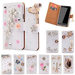 Недорогие Чехлы и кейсы для Galaxy Note 5-Кейс для Назначение SSamsung Galaxy Samsung Galaxy Note Бумажник для карт Стразы со стендом Флип Чехол Сияние и блеск Кожа PU для Note 5