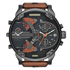 お買い得  大特価腕時計-男性 軍用腕時計 クォーツ カレンダー 2タイムゾーン 3タイムゾーン レザー バンド ブラウン ブランド