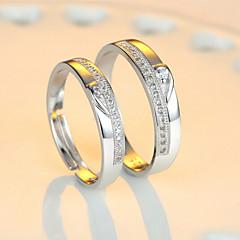 preiswerte Ringe-Paar Eheringe - Sterling Silber Verstellbar Für Hochzeit / Party / Alltag / Zirkon