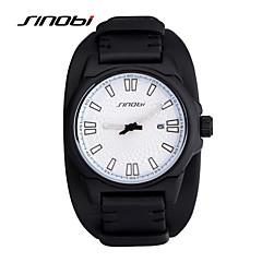 SINOBI Αντρικά Αθλητικό Ρολόι Ρολόι Καρπού Χαλαζίας Ημερολόγιο Ανθεκτικό στο Νερό Αθλητικό Ρολόι Δέρμα Μπάντα Μαύρο Μαύρο