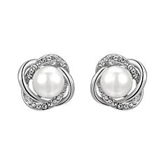 preiswerte Ohrringe-Damen Kristall Ohrstecker - Perle, Künstliche Perle, Kubikzirkonia Blume Modisch Silber / Rotgold Für Alltag