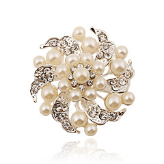 abordables -Mujer - Perla Artificial, Brillante, Plateado Moda Broche Blanco Para Fiesta / Casual