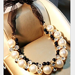 お買い得  ネックレス-女性用 真珠 ラッソ ステートメントネックレス / パールネックレス  -  真珠, イミテーションダイヤモンド ぜいたく ホワイト ネックレス ジュエリー 用途 パーティー