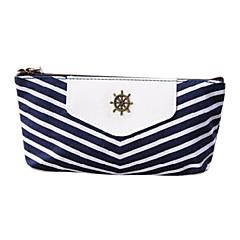 해군 줄무늬 스타일의 펜 연필 케이스 화장품 가방 보관 파우치 지갑 동전 지갑 블루 메이크업