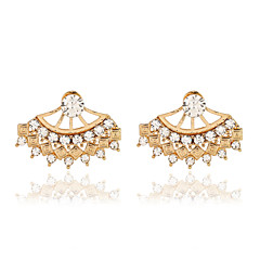お買い得  イヤリング-ドロップイヤリング クリスタル ファッション 欧風 真珠 樹脂 ラインストーン 18K 金 模造ダイヤモンド オーストリアクリスタル 合金 ゴールド シルバー ジュエリー のために 2 個