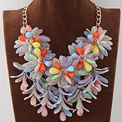 preiswerte Halsketten-Damen Anhängerketten Statement Ketten - Blume, Süßigkeit Erklärung, Europäisch, Modisch Blau, Rosa, Regenbogen Modische Halsketten Schmuck Für