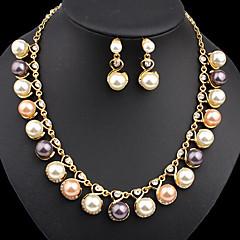 Dame Smykke Sæt Mode Sød Stil Perle Imiteret Perle Simuleret diamant Pink perle Sort perle Øreringe Halskæde Til Fest Speciel Lejlighed