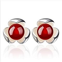 olcso Fülbevalók-Beszúrós fülbevalók Ezüst Achát Fekete Piros Ékszerek Mert Esküvő Parti Napi Hétköznapi 1set