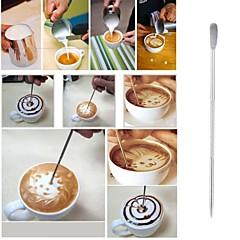 abordables Utensilios y vasos para café y té-puntada de fantasía herramientas de decoración arte gancho de la pluma herramienta de cappuccino café latte aguja de la técnica de acero