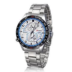 お買い得  メンズ腕時計-CURREN 男性用 リストウォッチ 耐水 ステンレス バンド チャーム ブラック / 2年 / Maxell CR2016
