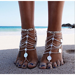 cheap Body Jewelry-Layered Anklet Barefoot Sandals - Silver Personalized, Unique Design, European Silver For Christmas Gifts Daily Casual Women's