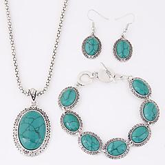 Women's European Exotic Fashion Oval Imitation Turquoise Necklace Earrings Bracelet Set