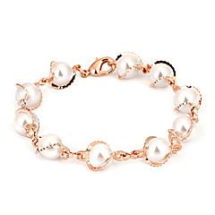 preiswerte Armbänder-Damen Perle Ketten- & Glieder-Armbänder - Perle, Rose Gold überzogen Zierlich, Party, Freizeit Armbänder Silber / Rotgold Für Alltag Formal Verabredung