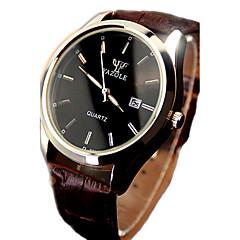 お買い得  メンズ腕時計-男性用 クォーツ リストウォッチ カレンダー 耐水 光る レザー バンド Elegant ブラック ブラウン