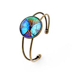 billige Armbånd-Charm-armbånd Armbånd minimalistisk stil Galakse Ædelsten Sølvbelagt Glas Legering Dyreformet Sommerfugl Bronze Smykker ForFest Daglig
