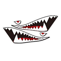 """abordables Accesorios exteriores automotrices-un tamaño de 60 """"* 20"""" dientes de tiburón fresco en la boca ho calcomanías de carrocería de automóviles Pegatina reflectante (1 par)"""