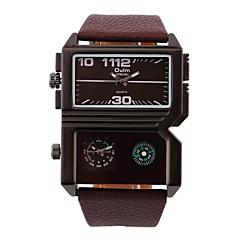 お買い得  大特価腕時計-男性用 クォーツ リストウォッチ カジュアルウォッチ 2タイムゾーン レザー バンド ブラック ブラウン