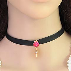 Mujer Gargantillas Collar Tela de Encaje La imitación de diamante Moda Blanco Gris Rosa Joyas Fiesta Diario Casual 1 pieza