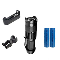 ZK50 LED-Zaklampen Klemmen En Houders Opladers LED 2000 Lumens 3 Modus Cree XR-E Q5 1 * 14500 Verstelbare focus Schokbestendig