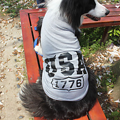billige Hundetøj og tilbehør-Katte / Hunde T恤衫 Rød / Blå / Grå Hundetøj Sommer / Forår/Vinter Amerikansk / USA Mode