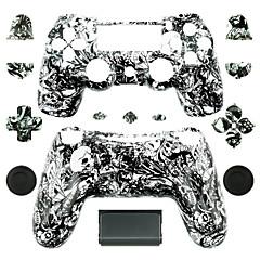 お買い得  バッグ、ケース、スキン-PS4コントローラー用の交換用コントローラケース(黒と白のゴーストヘッド)