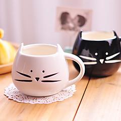1PC ل300ML لطيف أبيض وأسود القط السيراميك شخصية كوب كوب واحد الريفية مشاعر عاطفية الهدايا كوب