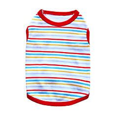 billige Hundetøj og tilbehør-Kat Hund T-shirt Hundetøj Åndbart Mode Stribe Sort Orange Rød Grøn Blå Kostume For kæledyr