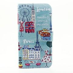 Недорогие Кейсы для iPhone 5-Кейс для Назначение Apple Кейс для iPhone 5 iPhone 6 iPhone 6 Plus Бумажник для карт Кошелек со стендом Чехол Вид на город Твердый Кожа PU