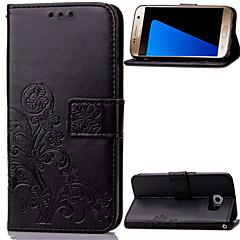 Недорогие Чехлы и кейсы для Galaxy Note 5-Кейс для Назначение SSamsung Galaxy Samsung Galaxy Note Бумажник для карт Кошелек со стендом Флип Рельефный Чехол Цветы Кожа PU для Note