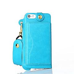 Недорогие Кейсы для iPhone 5-Кейс для Назначение iPhone 5 Apple Кейс для iPhone 5 Бумажник для карт со стендом Мешочек Сплошной цвет Твердый Кожа PU для iPhone SE/5s