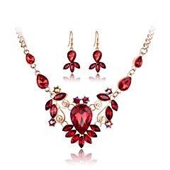 Dames Sieraden Set Ketting / Oorbellen Kostuum juwelen Kristal Strass Glas Roos verguld Gesimuleerde diamant Legering Kettingen Oorbellen