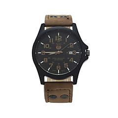 お買い得  メンズ腕時計-男性用 リストウォッチ クォーツ カレンダー レザー バンド ハンズ カジュアル ファッション ブラウン / グリーン / カーキ - グリーン ブラック / ホワイト ブラック 1年間 電池寿命