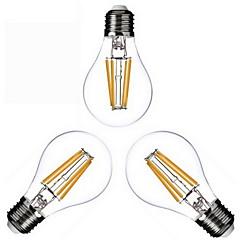 4W E26/E27 LED Filament Bulbs A60(A19) 4 COB 400lm Warm White 2800-3200K Dimmable AC 220-240 AC 110-130V