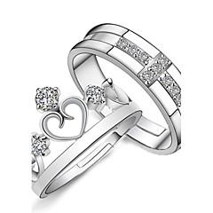 Mujer Alianzas Anillo de compromiso Amor Nupcial Moda Ajustable joyería de disfraz Plata de ley Brillante Forma de Corazón Forma de Cruz