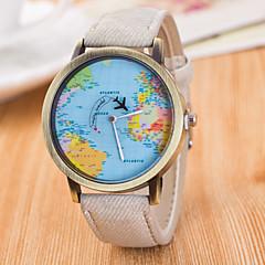 Ανδρικά Ρολόι Καρπού Χαλαζίας / Δέρμα Μπάντα Πεπαλαιωμένο Καθημερινά Παγκόσμιος Χάρτης Pattern Μαύρο Λευκή Μπλε Κόκκινο Καφέ Πράσινο Γκρι