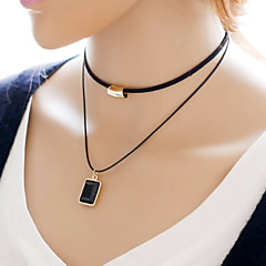 お買い得  ネックレス-女性用 チョーカー  -  シンプルなスタイル, ダブルレイヤー ブラック ネックレス 用途 日常, カジュアル