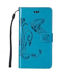 Недорогие Чехлы и кейсы для LG-Кейс для Назначение LG LG K10 LG K7 LG G4 Кейс для LG Бумажник для карт Кошелек со стендом Флип Рельефный Чехол Бабочка Твердый Кожа PU