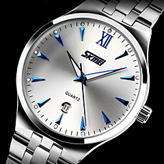 cheap Steel Band Watches-SKMEI Men's Dress Watch Calendar / date / day / Water Resistant / Water Proof / Noctilucent Stainless Steel Band Luxury Silver