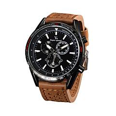 お買い得  メンズ腕時計-V6 男性用 リストウォッチ クォーツ 日本産クォーツ カジュアルウォッチ レザー バンド ハンズ チャーム ブラック / ブラウン / カーキ - ブラック Brown カーキ色 2年 電池寿命 / 三菱LR626