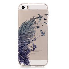 Voor iPhone 5 hoesje Ultradun / Transparant / Patroon hoesje Achterkantje hoesje Veer Zacht TPU iPhone SE/5s/5