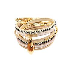leather Charm BraceletsFashion Women 4 Rows Crysral Set Beaded Wrap Leather Bracelet Jewelry Christmas Gifts