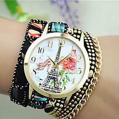 お買い得  レディース腕時計-女性用 ファッションウォッチ クォーツ 生地 バンド ハンズ エッフェル塔 ブラック / 白 / ブルー - フクシャ レッド ブルー
