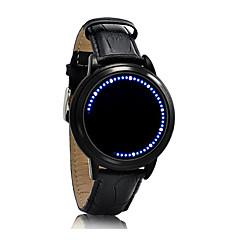 halpa Parien kellot-Miesten Quartz Ainutlaatuinen Creative Watch Rannekello Kosketusnäyttö LED Nahka Bändi Luova Muoti Tyylikäs Musta